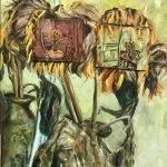 Het Droste effect met de Haarlemse zonnebloemen, olieverf schilderij