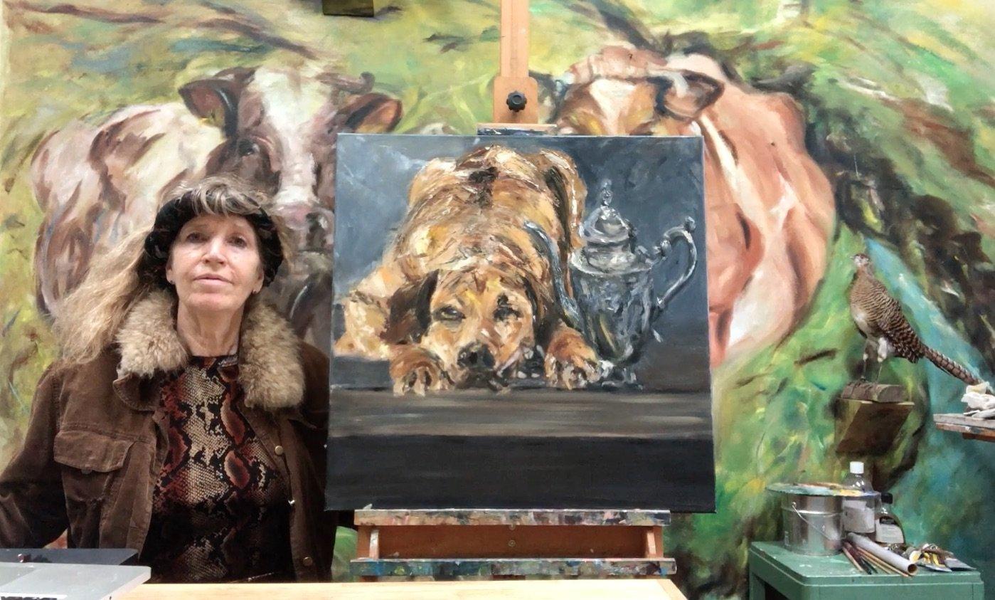 Stilleven schilderij Pot en hond