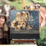 Art Storytelling Het ontstaan van mijn werk; schilderijen, beelden en taxidermie in een kort beeldend verhaal verteld. Stilleven schilderij Pot en hond