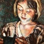 Portret van Janne geschilderd met de techniek van Rembrandt, olieverf op papier
