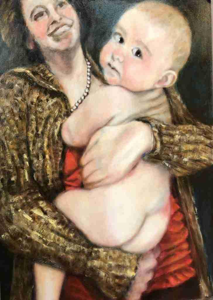 Madonna met kind in uitvoering, olieverf schilderij