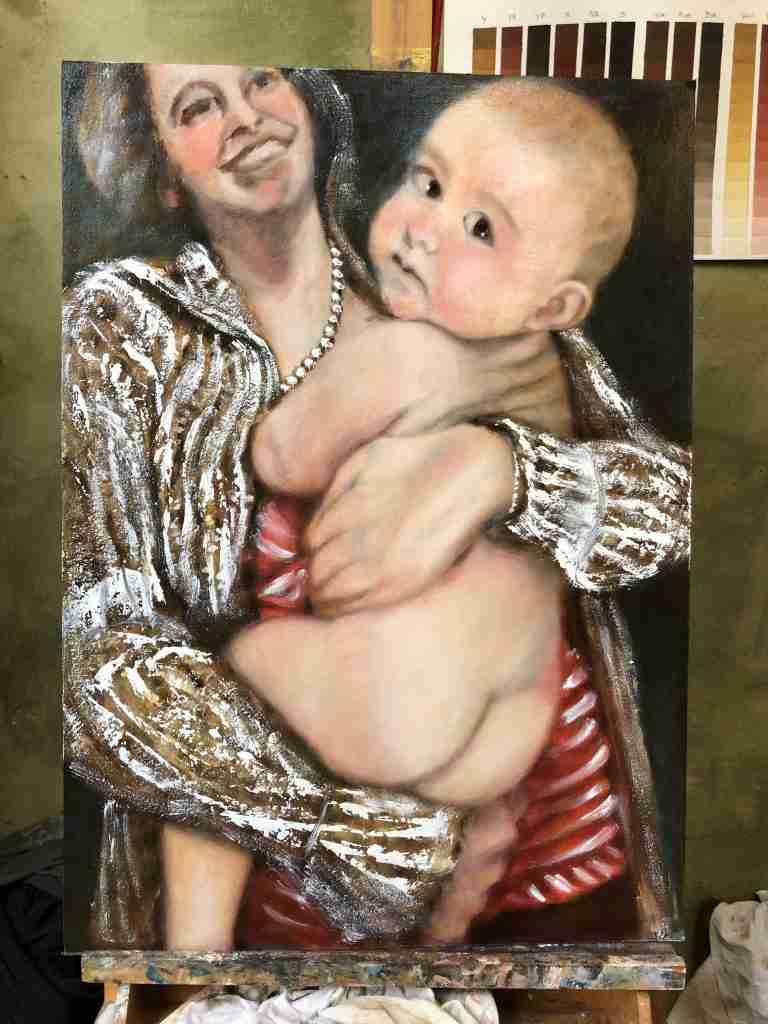 Madonna met kind schilderij