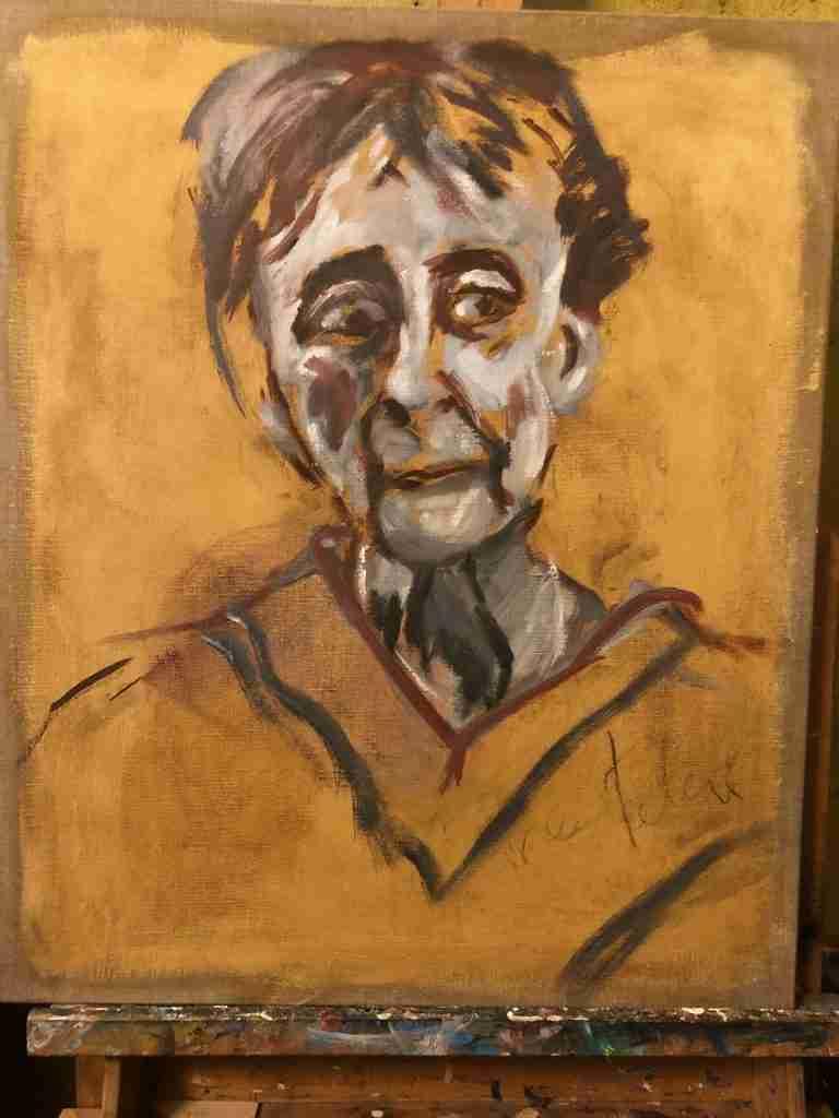 Portret van Clairy Polak. Penseelschets en start met doodverf Clairy