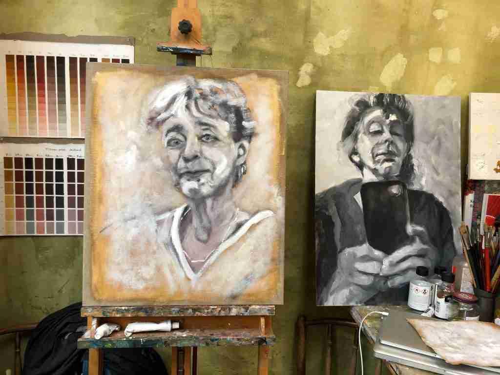Portret van Clairy Polak geschilderd in de Doodverf, een Oude Meesters schildertechniek