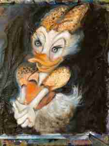 Ella Looise. Online Atelier, online, samen schildersessie, Katrien schilderen, schilderles