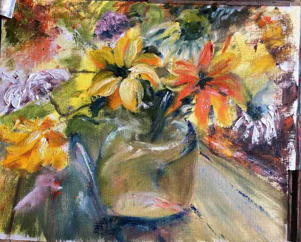 Schilderles. Online samen schildersessie, schilderles bloemen schilderen