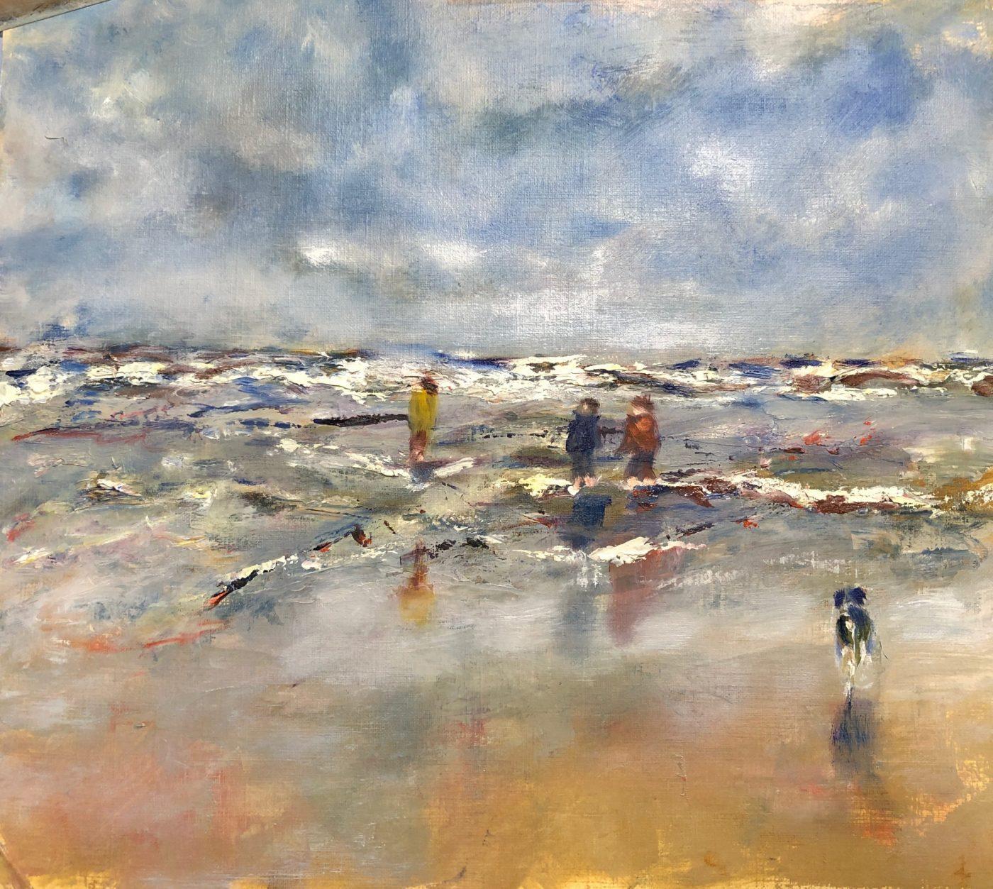 Online schildersessies, Strand zee lucht en kinderen