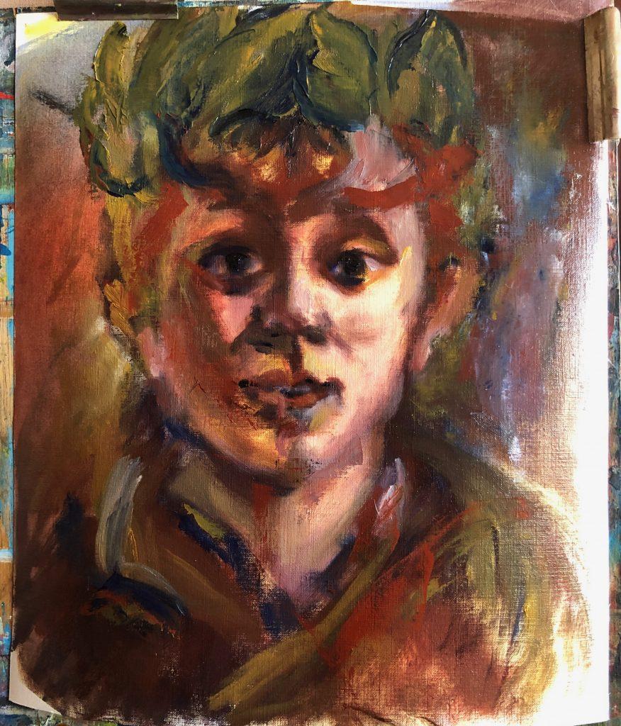 Online schilderles Samen schildersessies, portret leren schilderen. Hoe Portret met Clair-obscur schilderen deze week online schilderles