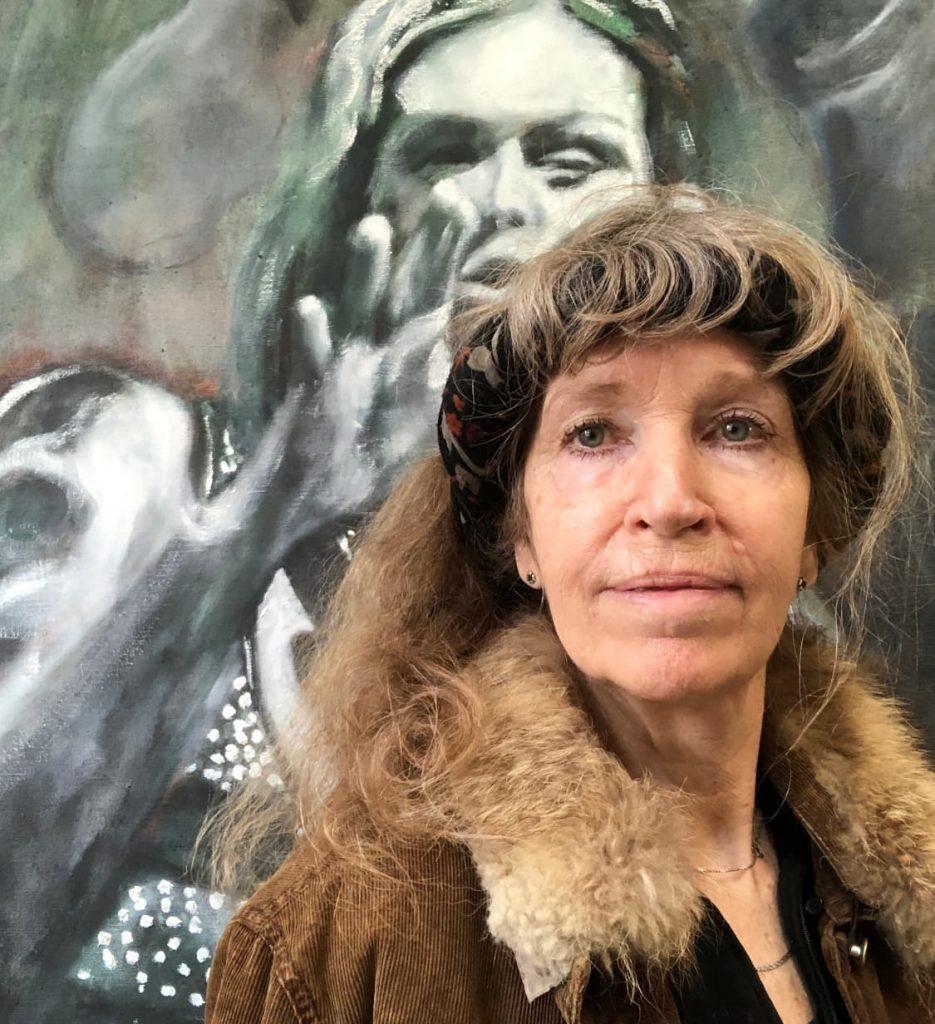 Ella Looise kunstschilder. zelfportret voor schilderij Beth Hart, doodverf