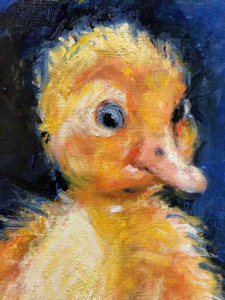 online schilderles detail van een klein eendje